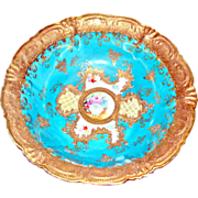 Nippon Moriage & Beaded Hand Painted Bowl with Maple Leaf Mark