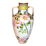 """Nippon Urn Vase Hand Painted Double Handles with Wild Rose Pattern 12"""""""