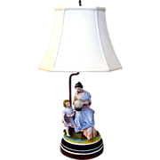 Porcelain Figure Lamp with Grecian Woman & Student