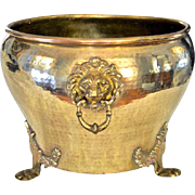 Imperial Russian Hand-Hammered Brass Jardinière w/Lion Head Mounts
