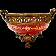 Sevres France Porcelain Gilt Bronze Bowl Chateau De Longpre' 19th Century with double handle