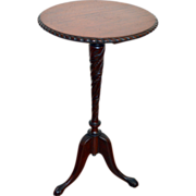 Solid Mahogany Stand with Gadrooning Edge and Carved Pedestal