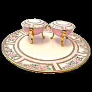 Tressemann & Vogt Limoges Porcelain Tray with two Vanity Jars
