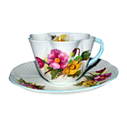 Vintage Shelley Cup Saucer Begonia 13427 Pattern Dainty Fluted