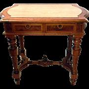 Walnut Burl wood Renaissance Revival Library Table Partners Desk Marble Top