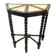 Walnut Demi Lune Hall Table with Barley Twist Legs and Caned Top