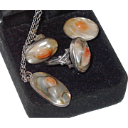 SALE SALE: Sterling and Blister Pearl Ring, Necklace and Earring Set