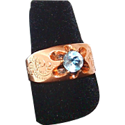 SALE Georgian Engraved Ostrich Feather 14k Rose Gold and Topaz Ring