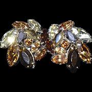 SALE End of Year SALE: Regency Topaz to Golden Crystal Rhinestone Earrings