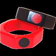 SALE Octagon Red and Black Polka Dot Vintage Bakelite Bangle Set