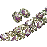 SALE BLOWOUT SALE: Plum Thermoset Confetti and Shell Bracelet and Earring Set