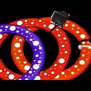 SOLD Polka Dot Early Plastic Bangles by Frank Giordano, Red Cobra