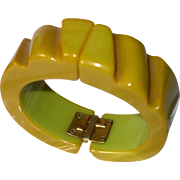 1925 Carved Green Bakelite Cuff Bangle