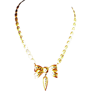 SALE Brass Bow Necklace with Black Enamel