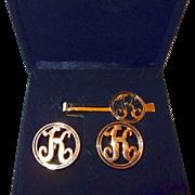 SALE Men's Cuff Link and Tie Clip Initial K Set in Original Box