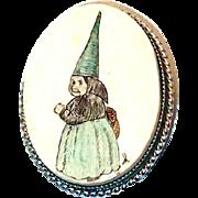 SALE Dwarf, Troll or Fairy Scrimshaw Pin
