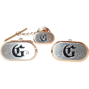 SALE Men's Hickok Cuff Link and Tie Tack Set with Initial G