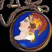 SALE Georgian Portrait Pendant: Hand Painted on Porcelain Blue Cameo with Gold Griffin