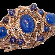 SALE Rare Austro-Hungarian Silver Renaissance Bracelet with Lapis and Pearls