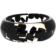 SALE Lucite Bangle with Floating Black Dots
