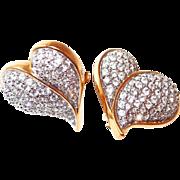 SALE Large Designer Crystal Heart Clip Earrings
