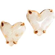 SALE Huge French Marbled Lucite Heart Earrings by Givenchy