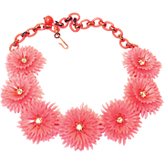 SALE Now on SALE: Pink Lisner Flower Necklace, Plastic with Rhinestone Centers