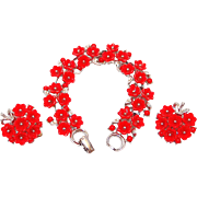 SALE Year End SALE: Lisner Set: Red Thermoset Plastic Flower Bracelet and Earrings