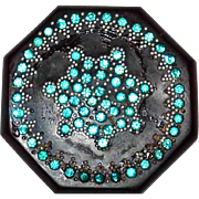 SALE Early Plastic Art Deco Black Brooch with Turquoise Rhinestones