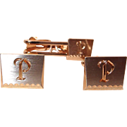 SALE Hickok Initial P Cuff Link and Tie Clip Set in Original Box