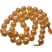 SALE Classic 10mm Salt Water Pearl Necklace with 14k Gold Clasp