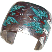 SALE SALE: American Indian Zuni Wide Thunder Bird Sterling Cuff with Turquoise and Red Coral