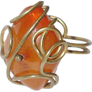 SALE Nice Gift Idea: Large Natural Amber Ring