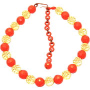 SALE Pop-60s Facet Orange and Citrine Plastic Bead Necklace