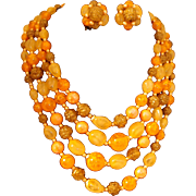 SALE Four Strand Orange Bead Necklace and Earring Set