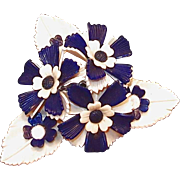 SOLD Huge 1940s Celluloid Navy and Cream Flower Clip Pin