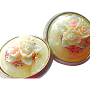 SOLD Celluloid Clip Earrings with Raised Flower Embellishments