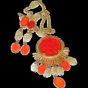 SALE Schreiner Orange Medallion Necklace/Brooch Combo and Earring Set