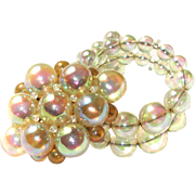 SALE Opalescent Bubble Glass Wire Bracelet and Brooch