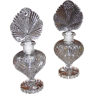 SALE Year End SALE: Two 40s Duchess Crystal Perfume Bottles 9.5 Inches by Irving Rice