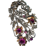 SALE Large Bow and Grape Motif Dress Clip with Paste Stone Flower Centers