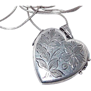 SALE Double Sided Etched Large Heart Locket in Sterling Silver