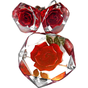 SALE Lucite Red Rose Pin and Earring Set on our BLOWOUT SALE