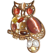 SALE Year End SALE: Moonstone Owl Pin in Earth Tones