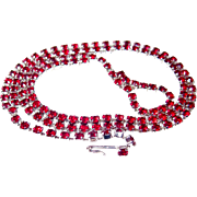 SALE Silver-tone Red Rhinestone Necklace in Time for Valentine's Day