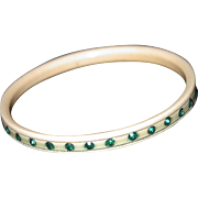 SALE Celluloid Bangle with Emerald Green Rhinestones, Small Size