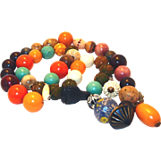 SALE Carved Bakelite Multi-color Early Plastic Necklace Includes, Celluloid and More