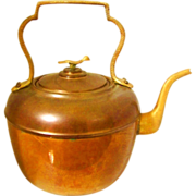 SOLD Copper Tea Pot Kettle with Brass Bird Top