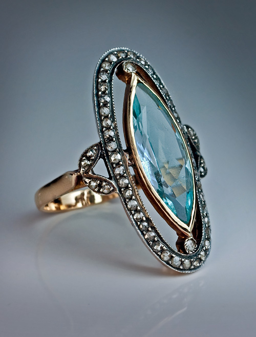 Navette Aquamarine Rose Cut Diamond Antique Ring From Romanovrussia On Ruby Lane