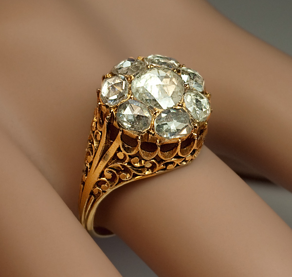 Georgian rose cut diamond cluster ring from romanovrussia for Best place to sell gold jewelry in chicago